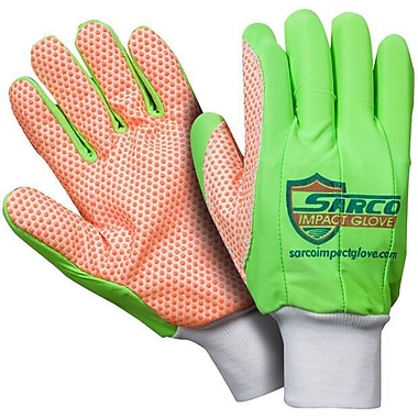 Northern Gloves Sarco Impact Protection Glove, Large, Green with Orange Dotted Palm