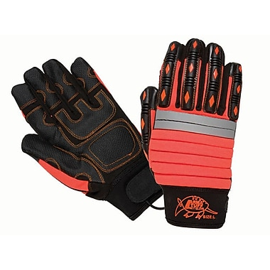 Northern Gloves Arma Tuff Mechanics Gloves, Red with Synthetic Leather Mechanics Palm