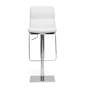 Wholesale Interiors Baxton Studio Adjustable Height Swivel Bar Stool with Cushion; White