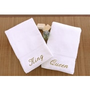 Linum Home Textiles Luxury Hotel and Spa Personalized King and Queen Hand Towel (Set of 2); Gold