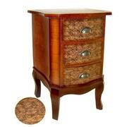 Cheungs Wooden Fleur De Lis Print 3 Drawer Cabinet