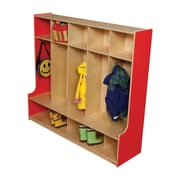 Wood Designs 1 Tier 5-Section Offset Seat Locker; Strawberry Red