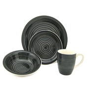 Lorren Home Trends Swirl 16 Piece Dinnerware Set; Black