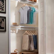 EZ SHELF from Tube Technology Expandable Organizer With 2 Closet Shelves, Rods & End Bracket; White
