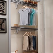 EZ SHELF from Tube Technology Expandable Organizer With 2 Closet Shelves, Rods & End Bracket; Silver