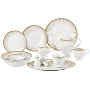 Lorren Home Trends Aria Porcelain  57-Piece Dinnerware Set (Set of 57)