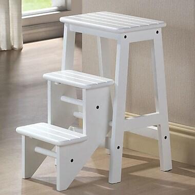 Boraam 3-Step Wood Step Stool; White