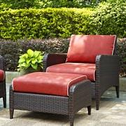 Crosley Elena 2 Piece Arm Chair & Ottoman with Cushions