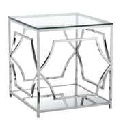 Pangea Home Edward End Table; High Polish Steel