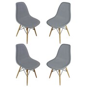 eModern Decor Slope Shell Side Chair (Set of 4); Dark Gray