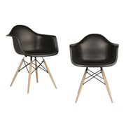 eModern Decor Mid Century Modern Scandinavian Arm Chair (Set of 2); Black