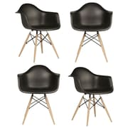 eModern Decor Mid Century Modern Scandinavian Arm Chair (Set of 4); Black