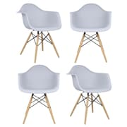 eModern Decor Mid Century Modern Scandinavian Arm Chair (Set of 4); Light Gray