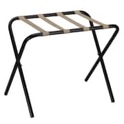 Household Essentials Luggage Rack with Straps; Black / Khaki