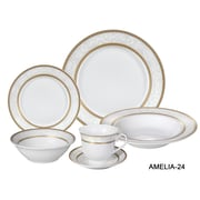 Lorren Home Trends Amelia 24-Piece Porcelain Dinnerware Set (Set of 24)