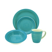 Lorren Home Trends Swirl 16 Piece Dinnerware Set; Blue