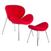 Kanto Debaunaire Wool Chair and Ottoman Set; Red