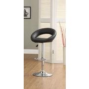 Hokku Designs Theory Adjustable Height Swivel Bar Stool with Cushion (Set of 2); Black