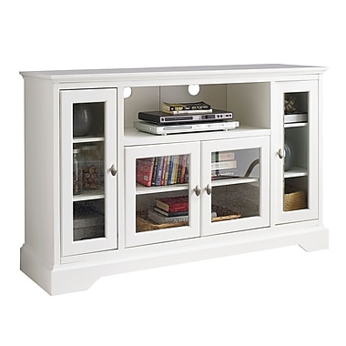 Walker Edison 52  Wood Highboy TV Stand  White  SP52C32WH. TV Stands   Entertainment Centers   Staples