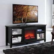 "Walker Edison 58"" Wood Fireplace TV Stand, Black (SP58FP18BL)"