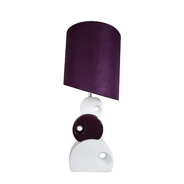 Elegant Designs Stacked Circle Ceramic Table Lamp With Asymmetrical Shade