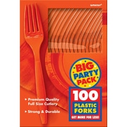 Amscan Big Party Pack Mid-Weight Fork, Orange, 3/Pack, 100 Per Pack (43600.05)