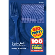 Amscan Big Party Pack Mid Weight Fork, Royal Blue, 3/Pack, 100 Per Pack (43600.105)