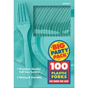 Amscan Big Party Pack Mid-Weight Fork, Robins Egg Blue, 3/Pack, 100 Per Pack (43600.121)