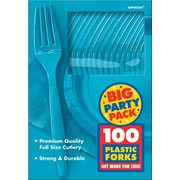 Amscan Big Party Pack Mid Weight Fork, Caribbean Blue, 3/Pack, 100 Per Pack (43600.54)
