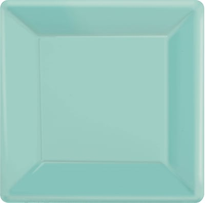 """""Amscan 10"""""""" x 10"""""""" Robins Egg Blue Square Plate, 4/Pack, 20 Per Pack (69920.121)"""""" 1970346"