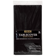 """Amscan Plastic Tablecover, 54""""W x 108""""L, Black, 12/Pack (77015.1)"""
