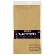 "Amscan 54"" x 108"" Gold Plastic Tablecover, 12/Pack (77015.19)"