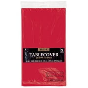 "Amscan 54"" x 108"" Apple Red Plastic Tablecover, 12/Pack (77015.4)"