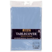 "Amscan 84"" Pastel Blue Plastic Round Tablecover, 9/Pack (77018.108)"