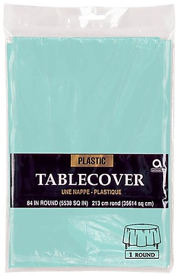 """""Amscan 84"""""""" Robins Egg Blue Plastic Round Tablecover, 9/Pack (77018.121)"""""" 1970130"