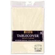 """Amscan 84"""" Vanilla Creme Plastic Round Tablecover, 9/Pack (77018.57)"""