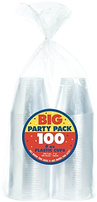 Amscan 9oz Clear Big Party Pack Plastic Cups, 2/Pack, 72 Per Pack (350366.86) 1969599