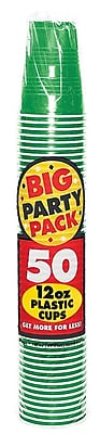 Amscan Big Party Pack 12oz Festive Green Cup, 5/Pack, 50 Per Pack (436800.03) 1970945