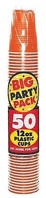 Amscan Big Party Pack 12oz Orange Cup, 5/Pack, 50 Per Pack (436800.05) 1970943