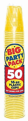 Amscan Big Party Pack 16oz Sunshine Yellow Cup, 5/Pack, 50 Per Pack (436801.09) 1970960