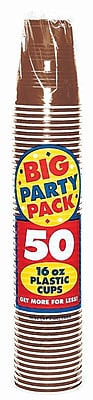 Amscan 16oz Chocolate Brown Big Party Pack Cup, 5/Pack, 50 Per Pack (436801.111) 1970954