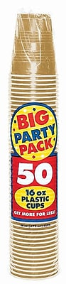 Amscan 16oz Gold Big Party Pack Cup, 5/Pack, 50 Per Pack (436801.19) 1970950