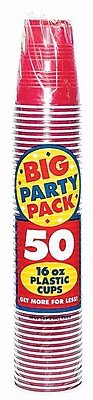 Amscan Big Party Pack 16oz Apple Red Cup, 5/Pack, 50 Per Pack (436801.4) 1970941