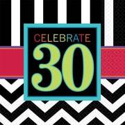 Amscan 30th Celebration Beverage Napkins, 5'' x 5'', Striped, 8/Pack