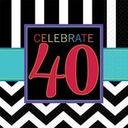 Amscan 40th Celebration Beverage Napkins, 5'' x 5'', Striped, 8/Pack