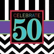 Amscan 50th Celebration Beverage Napkins, 5'' x 5'', Striped, 8/Pack