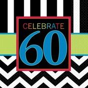 Amscan 60th Celebration Beverage Napkins, 5'' x 5'', Striped, 8/Pack