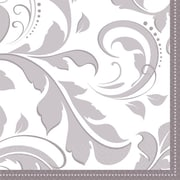 Amscan Elegant Scroll 25th Anniversary Beverage Napkins, 5'' x 5'', Silver, 8/Pack, 16 Per Pack (503850)
