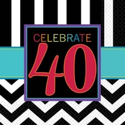 Amscan 40th Celebration Lunch Napkins, 6.5'' x 6.5'', Striped, 8/Pack