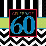 Amscan 60th Celebration Lunch Napkins, 6.5'' x 6.5'', Striped, 8/Pack